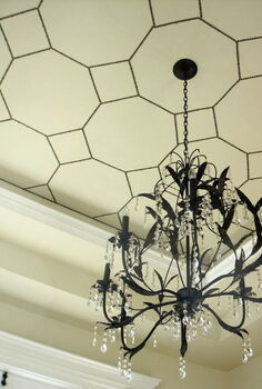 i used nail head strips for this unique treatment on our dining room ceiling for, dining room ideas, home decor, Nailhead Ceiling