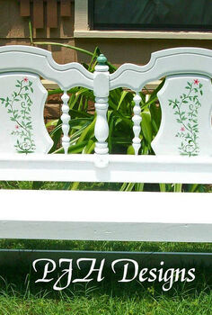 re purposed bed to garden porch bench, painted furniture, repurposing upcycling, Garden Porch Bench