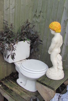 a fountain, gardening, outdoor living, repurposing upcycling, next to my garage