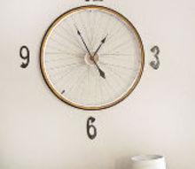 vintage bicycle wheel clock, home decor, repurposing upcycling, wall decor