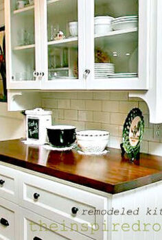 kitchen makeover adding affordable architectural character, home decor, kitchen design, A china cabinet refaced subway tile new drawers and pretty glass cabinet doors