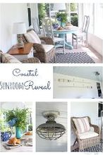 sunroom makeover coastal beachy redo, chalk paint, flooring, home decor, painted furniture, porches