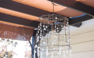 turning a tomato cage into a chandelier, electrical, lighting, repurposing upcycling, piglogsandtaterberries blogspot com 2012 06 secret life of outdoor chandelier html