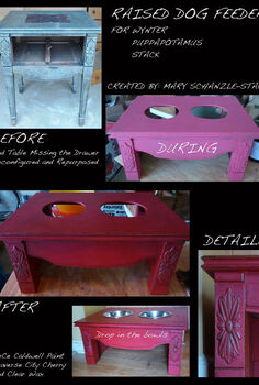 end table turned raised dog feeder, chalk paint, painted furniture, pets animals, repurposing upcycling, Raised Dog Feeder