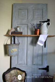 i love my dumpster find door turned decoritive shelf, doors, painting, pallet, shelving ideas