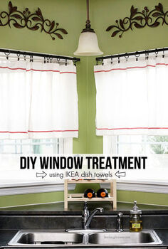 diy ikea hack window treatment dishtowel, repurposing upcycling, window treatments, windows