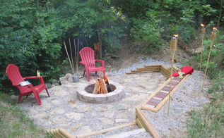 creating a creek stone patio amp fire pit, concrete masonry, outdoor living, patio, Creek stone patio fire pit landscaping timber retaining wall