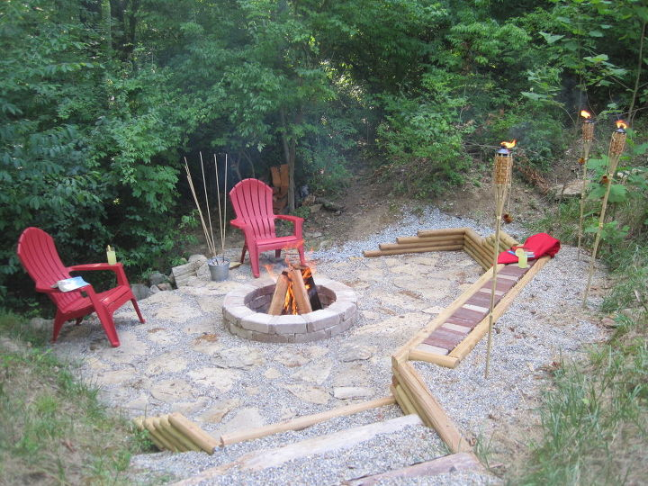 creating a creek stone patio amp fire pit, concrete masonry, outdoor  living, patio - Creating A Creek Stone Patio & Fire Pit Hometalk