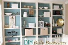 diy built in bookcases, painted furniture, shelving ideas, DIY custom bookcases from Ikea shelves