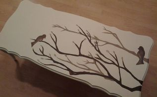shabby chic coffee table, chalk paint, painted furniture, shabby chic, Brid branch silhouette