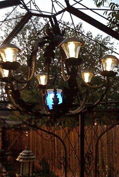 diy solar light chandelier, crafts, outdoor living
