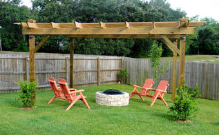 our outdoor seating area, outdoor furniture, outdoor living, painted furniture, Our pergola and firepit area that my husband built has been a wonderful addition to our backyard He even built me a beautiful potting bench with the leftover lumber