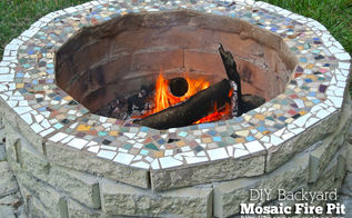 diy backyard mosaic firepit, diy, outdoor living, tiling