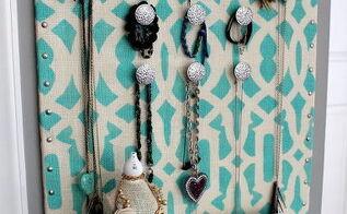 stenciled burlap jewelry organizer, crafts, storage ideas