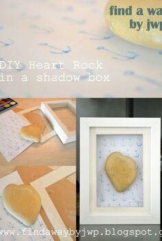 wall art shadow box heart rock, crafts