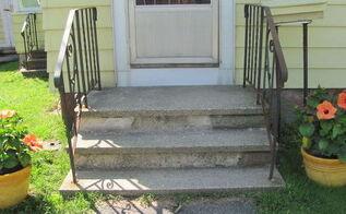 q front porch update concrete steps help, concrete masonry, porches