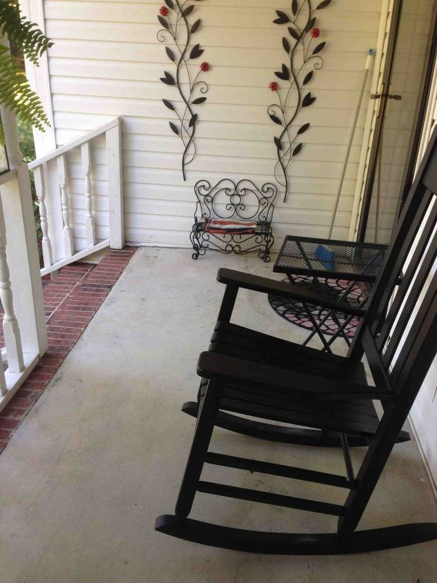 Painted Concrete Porch With A Stone Stencil Hometalk
