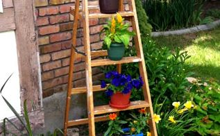 repurposed step ladder, flowers, gardening, repurposing upcycling, Step Ladder as garden planter