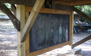 outdoor creative center made from re purposed materials, diy, outdoor living, woodworking projects, 2nd side of a double sided chalk board made from re purposed building materials