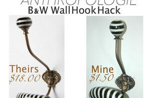 wall hook hack knock off anthropologie black white, crafts, wall decor