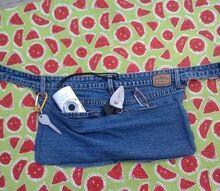 denim gardeninig pouch made from old jeans, gardening, repurposing upcycling