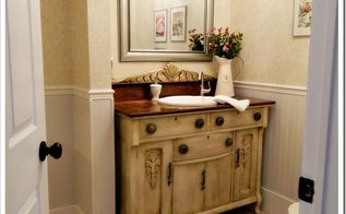 laundry room powder room, bathroom ideas, home decor, laundry rooms, Powder Room with antique buffet beadboard