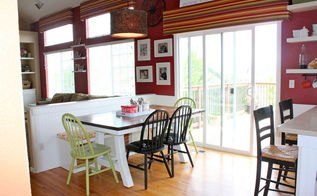 painted kitchen cabinets and beadboard, home decor, painting, shelving ideas, woodworking projects, Here is a view of the pony wall and eat in area with crisp white beadboard as well as my new table my dad built Love how the white really opens up the space