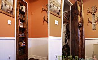 hidden bookcase door, doors, entertainment rec rooms, storage ideas, The door is installed on the original closet hinges