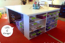 diy crafting table, craft rooms, painted furniture, storage ideas, Check out all of that storage
