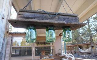 barnwood mason jars and christmas lights hanging light, lighting, mason jars, repurposing upcycling, rustic furniture, Barnwood and Mason Jar Hanging Light