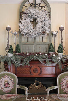 my favorite room in the house my french cottage inspired bedroom, bedroom ideas, christmas decorations, doors, fireplaces mantels, hardwood floors, home improvement, seasonal holiday decor, Fireplace mantel at Christmas