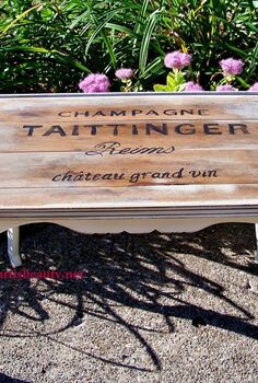 champagne crate inspired rescued table, home decor, painted furniture