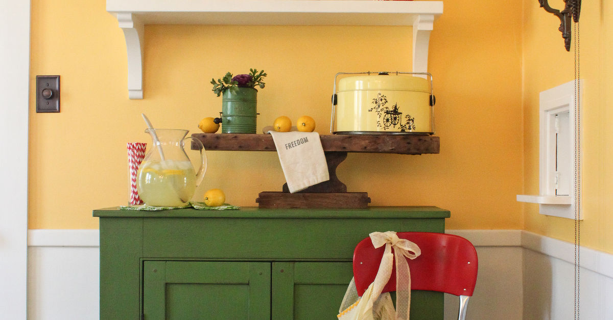 Diy shelves add fun and color to a dining room hometalk for Dining room useless