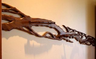 sculpture born from necessity, diy, fireplaces mantels, home decor, stairs, woodworking projects, Carved walnut and cast bronze handholds