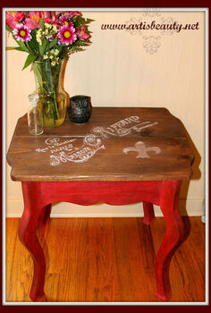 my hand painted rrench maison end table, home decor, painted furniture, rustic furniture