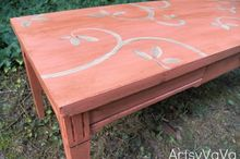 coral is the hot color of the season, chalk paint, painted furniture, Coral coffee table painted with homemade chalk paint a design added with acrylic paint and then finished off with a coat of dark wax