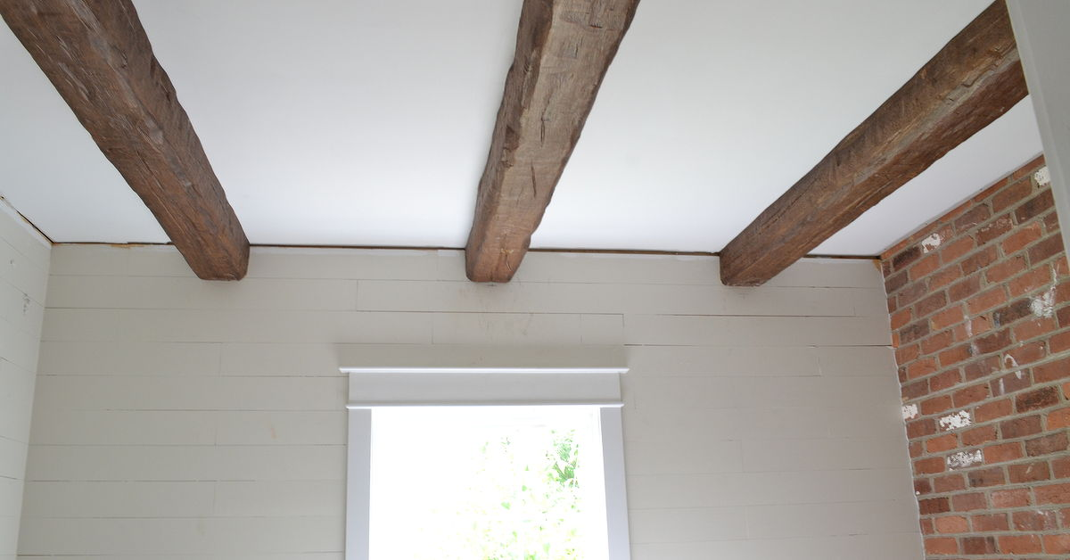 Installing faux wood beams in our master bath hometalk for Faux wood beams com