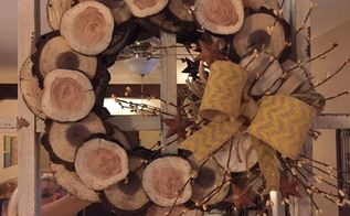 how to make a winter wreath from wood slices, crafts, seasonal holiday decor, wreaths, Mirror over fireplace