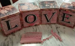 valentine love blocks gift boxes upcycled, crafts, decoupage, repurposing upcycling, seasonal holiday decor, valentines day ideas