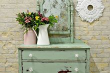 floral acid mirror by sweet pickins, decoupage, how to, painted furniture, shabby chic, See the floral peeking out in the mirror