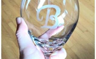 diy designer inspired etched monogram glassware diy stencils, crafts, how to
