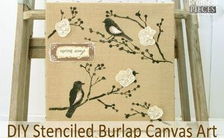 michaels hometalk pinterest party diy stenciled burlap tutorial, crafts