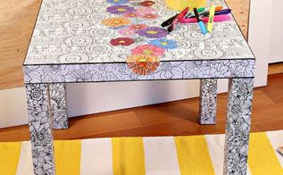 ikea hack with adult coloring books, craft rooms, crafts, decoupage, diy, painted furniture