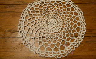 create cement lace using doilies and other crochet items, concrete masonry, container gardening, crafts, gardening, how to, Crochet doily