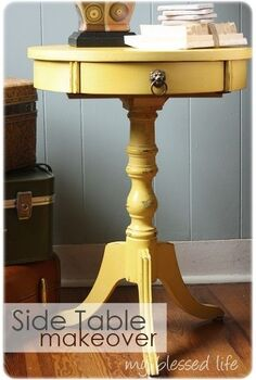 lovely side table makeover, home decor, painted furniture, Round Side Table Makeover with chalk clay paint