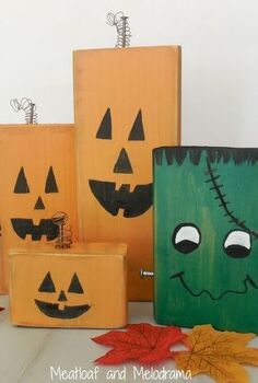 crafts fall decor wood pumpkins frankenstein painted, crafts, halloween decorations, seasonal holiday decor, woodworking projects