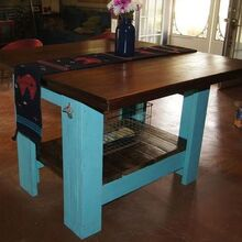 island built from pallet wood and rough walnut, diy, pallet projects, repurposing upcycling, Finished island