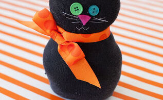 halloween decorations craft black cat sock, crafts, seasonal holiday decor