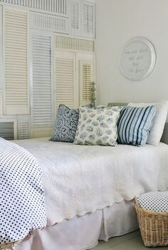 need an easy fix for a blank wall add a wall of shutters, bedroom ideas, home decor