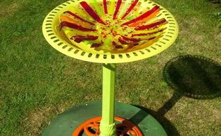 i love to do fused glass i made this bird bath then took an old cast iron bird bath, crafts, outdoor living, And there ya go